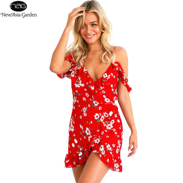 placeholder Summer Dress Sexy Off Shoulder V Neck Floral Printed Women s  Wrap Dress Red Mini Beach Dress 3f68941c9