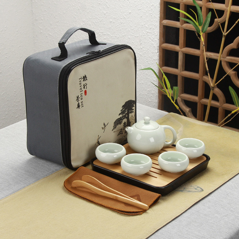 Chinese Travel Kung Fu Tea Set Ceramic Portable Teapot Porcelain Teaset handmade teapot teacup gaiwan Tureen tea ceremony