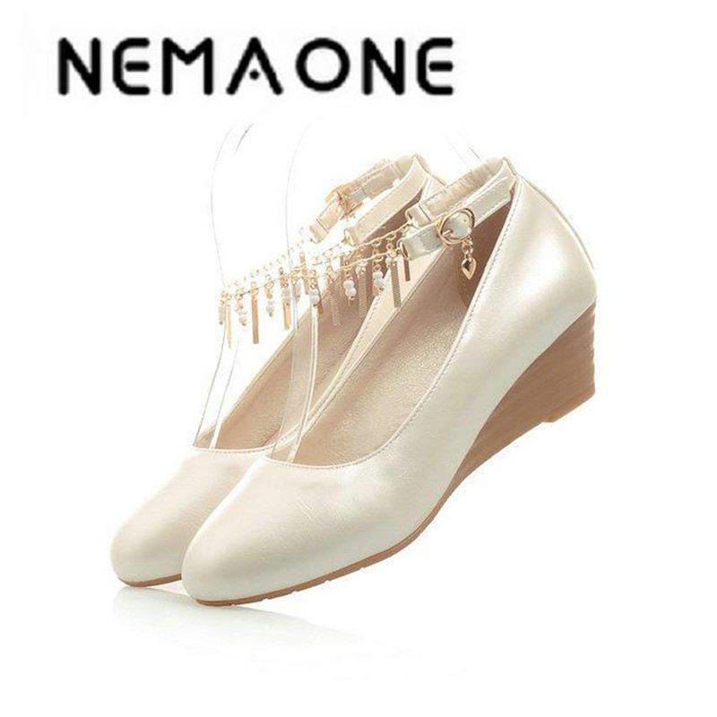 New Summer Women Wedges Shoes Pointed Toe pu Leather Nude Work Shoes Casual Women Pumps Wholesale Size 35-41 freeshipping plus size 34 49 new spring summer women wedges shoes pointed toe work shoes women pumps high heels ladies casual dress pumps