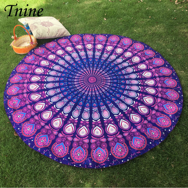 Indian Tapestry Wall Hanging Gypsy Bedspread Bohemian Round Toalha Mandala  Beach Towel Throw Mats Casual Beach Mats 9fed3af460