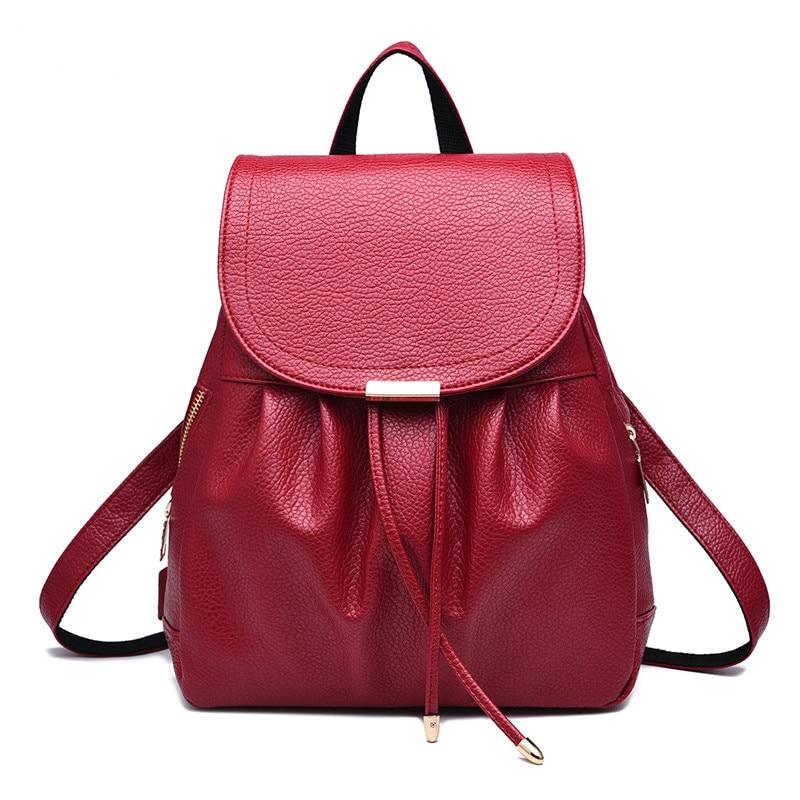 Sud Pelle Signore Semplice Bag burgundy In 2017 Viaggio Del Generoso Feminina Shopping Reale Corea Zaino blue Zaini white Black E Donne red Pu Da Mochila Giappone qHHTaP