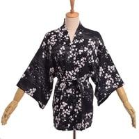 1pc Japanese Black Yukata Kimono Women Floral Sakura Printed Cardigan Outwear