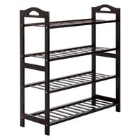 Concise 12 Batten 4 Tiers Bamboo Shoe Rack Coffee Shoe Rack Multi Use Bamboo Rack For Shoes Towels Sundries Books Plants