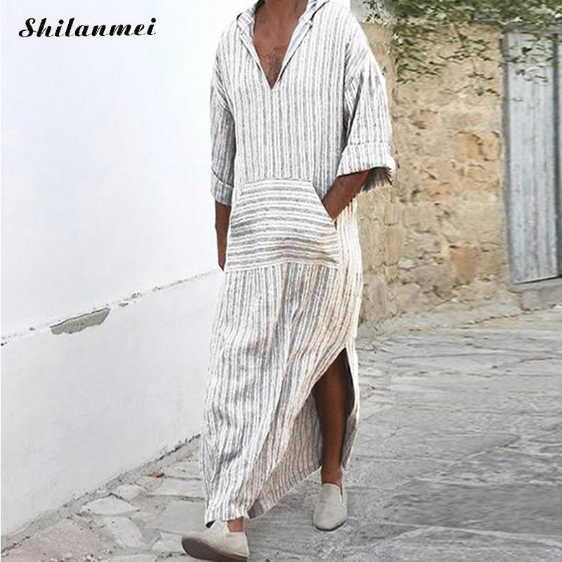 Clothing Men Robe Abayas Kaftan Hooded Arab Islamic Muslim White Jubah Casual Long-Sleeve