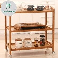 Луи Мода Тележка Кухня передвижная колесная тележка обеденный автомобиль пол Многоэтажный стеллаж для хранения бамбука