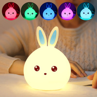 AIMIHUO Cute Silicone LED Night Light Rabbit RGB Multicolor Touch Sensor For Children Baby Bedside Lamp dimmable Night light