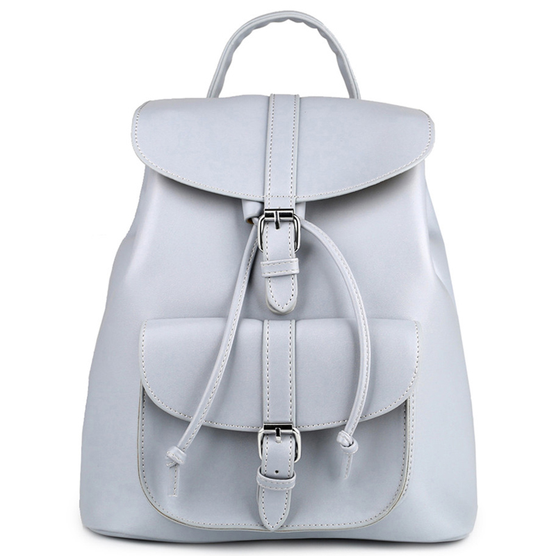 Women Backpack Vintage PU Leather Backpacks Drawstring Black Rucksacks Brand Shoulder Bags For Teenage Girls Grey School Bags mara s dream 2018 backpack simple style women pu leather backpacks for teenage girls school bags vintage solid shoulder bag