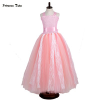 Lace Tulle Flower Girl Dresses Pink Navy Blue Wedding Pageant Ball Gown Children Tutu Dress Kids