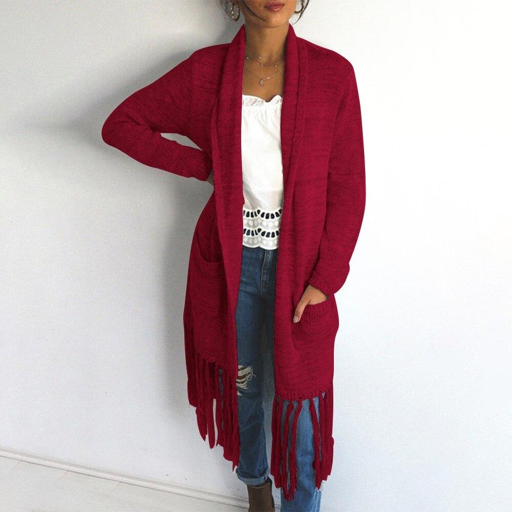 Women Sweaters Coat Black Autumn Winter Plus-Size Ladies Tassel Solid Mujer Red Invierno