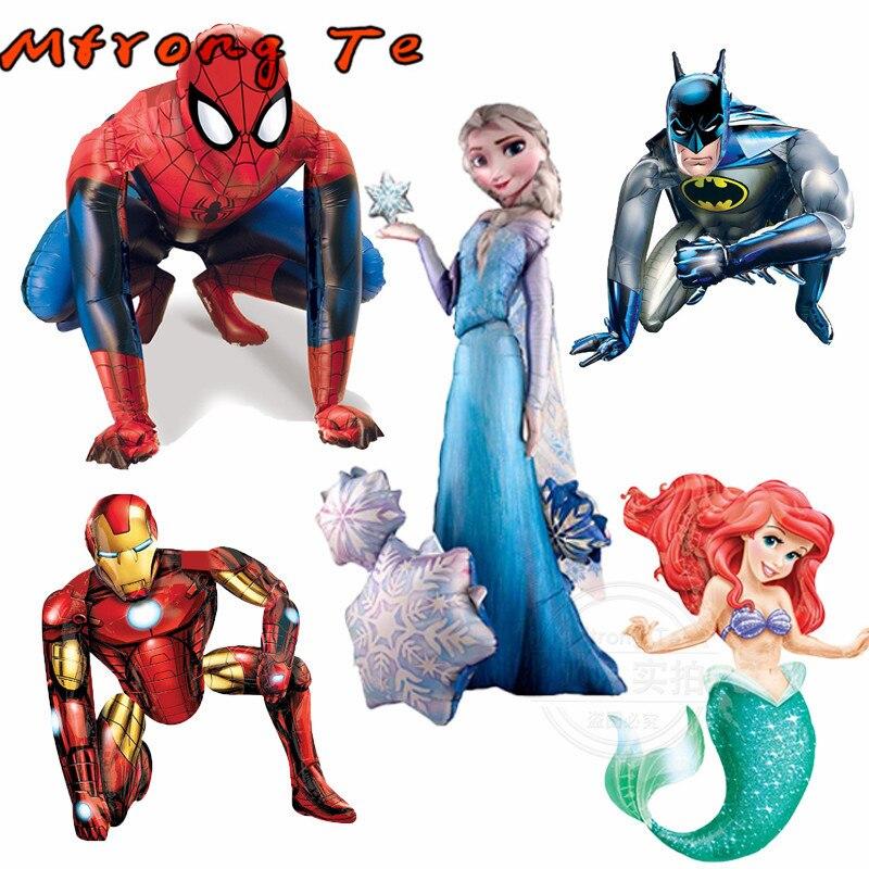1 pièces 3D Spiderman fer Batman Airwalker feuille d'hélium ballons Avengers héros fête d'anniversaire décor fournitures enfants jouet cadeaux