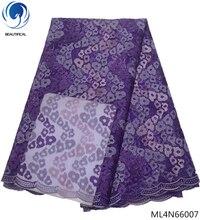 BEAUTIFICAL nigerian fabrics purple tulle lace wedding decoration african 2019 sales 5yards/lot ML4N660