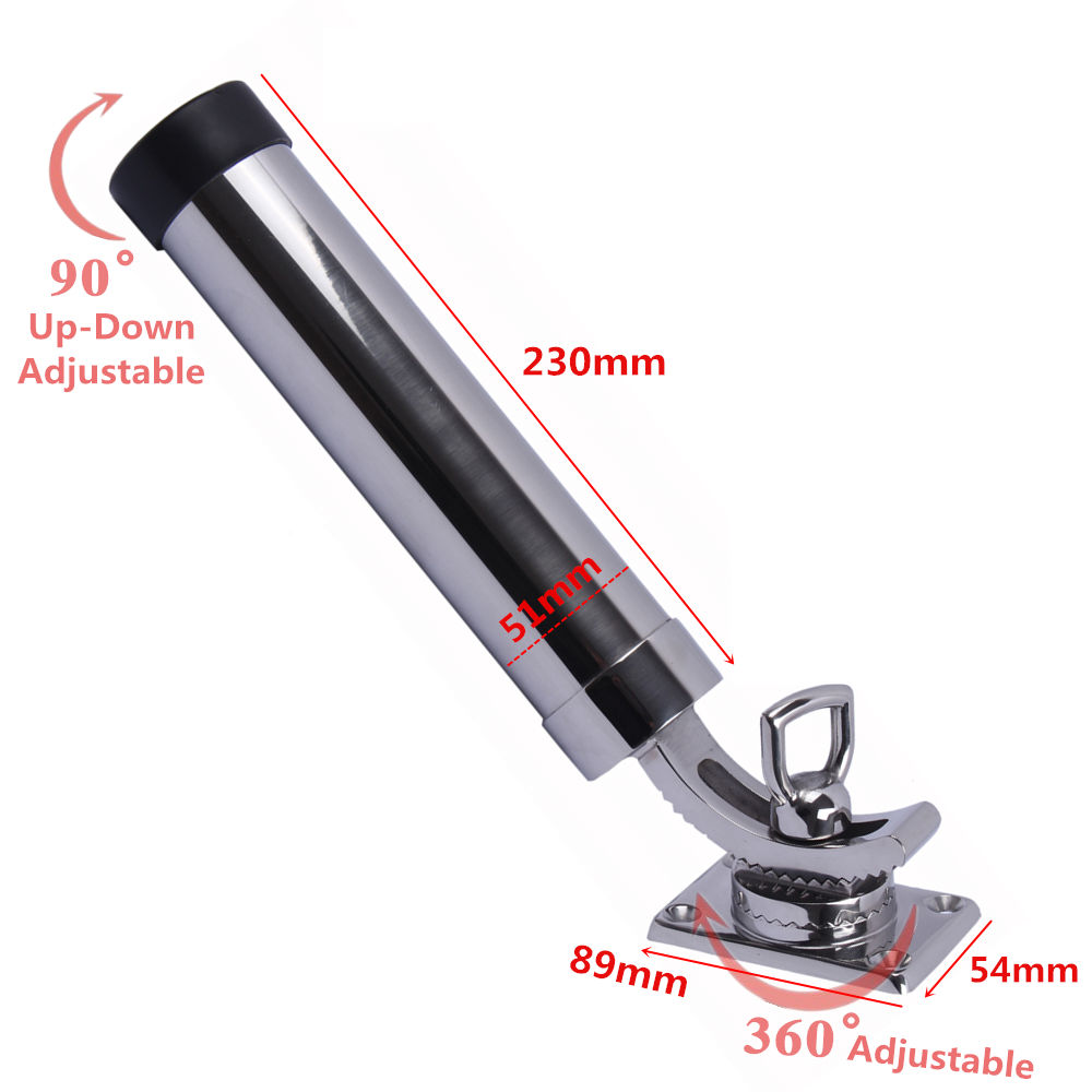 Boat 316 Stainless Steel Fishing Rod Holder Deck Mount Adjustable Yacht Rod Pod Boat Accessories Marine