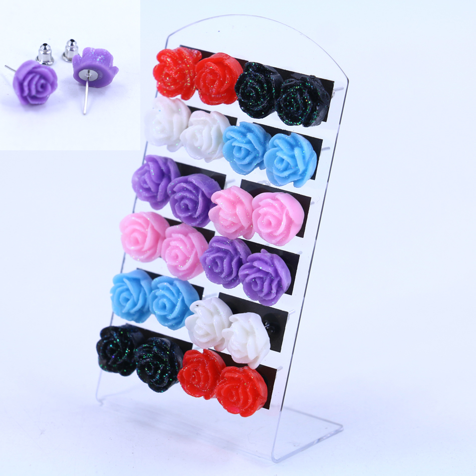 free shipping hot selling korea design cheap resin rose flower stud earring small colorful. Black Bedroom Furniture Sets. Home Design Ideas