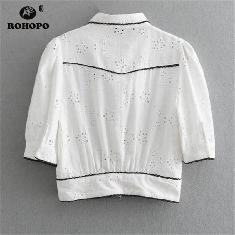 ROHOPO Women Autumn Blouse Half Sleeve Cotton White Embroidery Chic Top Shirt Holow Out Chic Strip Side Blouses UK9131 in Blouses amp Shirts from Women 39 s Clothing