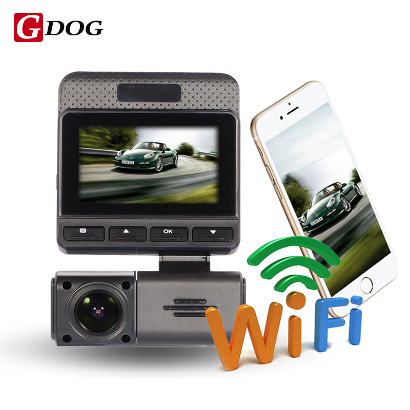 Novatek 96658 WIFI real monitor car dvr 2.45 IPS screen FHD1080P dual lens camera rear view camera app control
