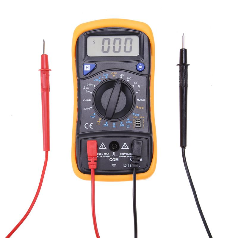 Portable DT830 LCD Digital Backlight Multimeter AC/DC Voltage Current Meter Resistance Tester with Testing Probes High Quality
