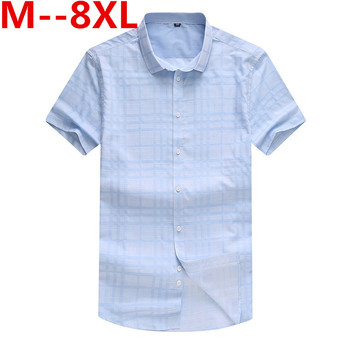 Loose Size 10XL 9XL big size Men Shirts 2018 Summer Brand Clothing Camiseta Masculina Plaid 100% Cotton Short Sleeve men's shirt