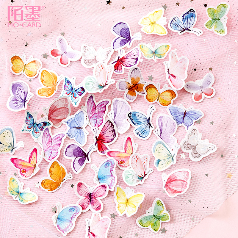 45 Pcs/Box Animal Cute Beautiful Butterfly Mini Decoration Paper Sticker Decoration DIY Album Diary Scrapbooking Label Sticker