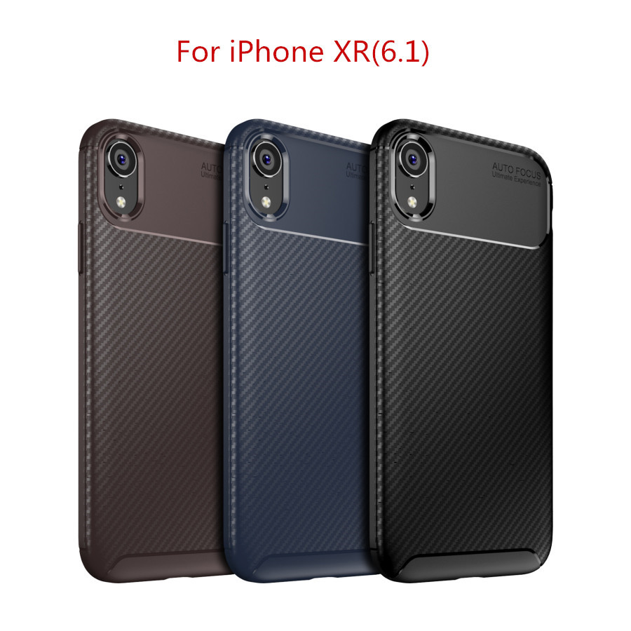 Case for iPhone XR Carbon Fiber Silicon Business Man Shockproof Soft TPU Coque Phone back Cover for iPhone XR Funda shell