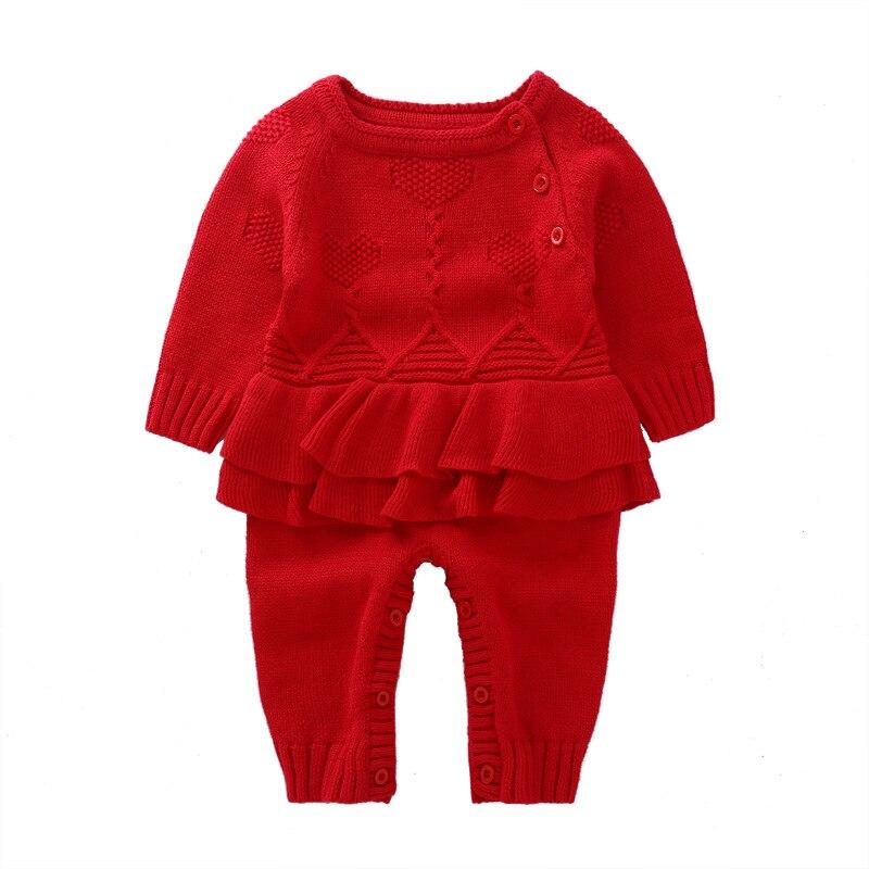 Осень-зима для маленьких девочек поддельные шерстяное платье комбинезоны джемперы детей восхождение свитер нового года вещи товары 17s907