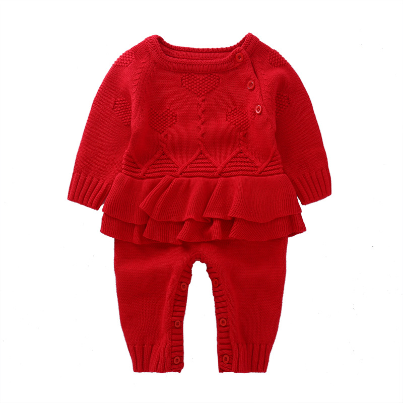 Winter autumn baby girls fake dress wool rompers infant jumpers children climbing sweater new years stuff goods 17S907