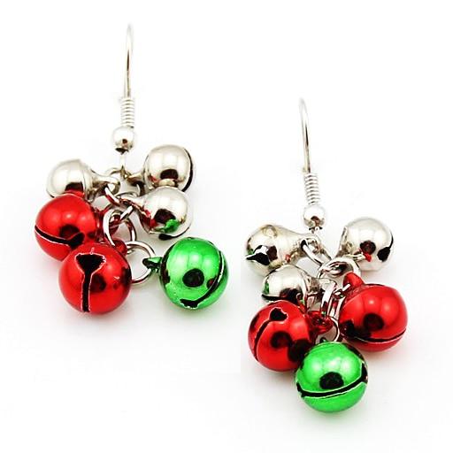 6 Pairs/lot) Christmas Ball Jingle Bells Charms Dangle Earrings for ...