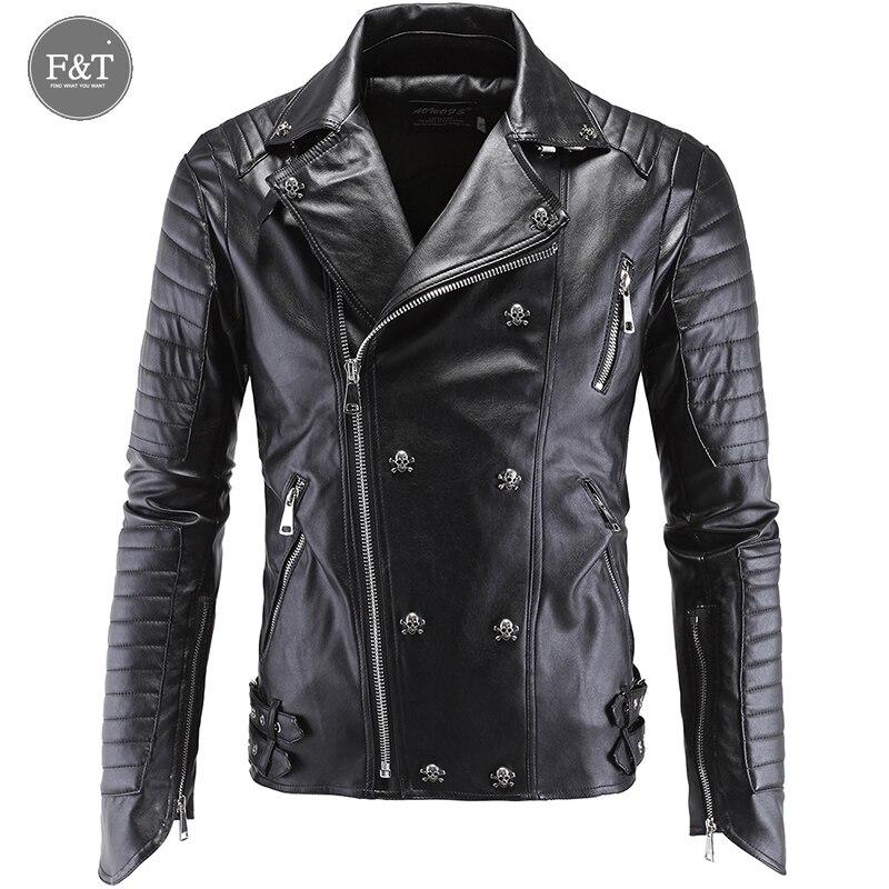 Leather Jacket Men Turn-down Collar Jaqueta De Couro Masculina PU Mens Leather Jackets Skull Punk Veste Cuir Homme plus size 5XL