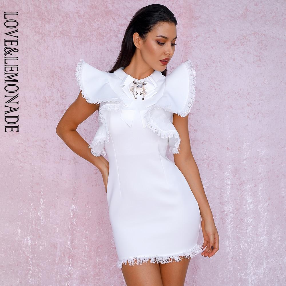 LOVE LEMONADE Sexy White Ruffled Tassel Decoration Lapels Water Diamond Jewelry Bodycon Party Dress LM90003