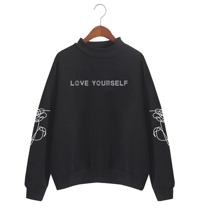 2018 Cool BTS Love Yourself K Pop Women Hoodies Long Sleeve Man Women Sweatshirts Hoodies Outwear Hip-Hop Boys Men Clothes