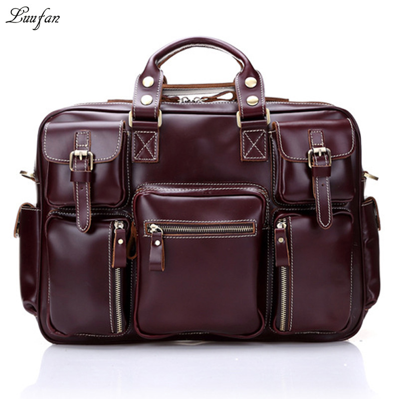 Cow Leather Retro Men Business Briefcase Bag Large Capacity Shoulder Laptop Bag