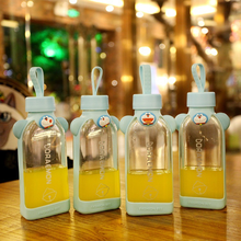 Cartoon Jingling Cat Glass Portable Cup with Rope Creative Square Water Bottle Lucency Flat  Kids Cute