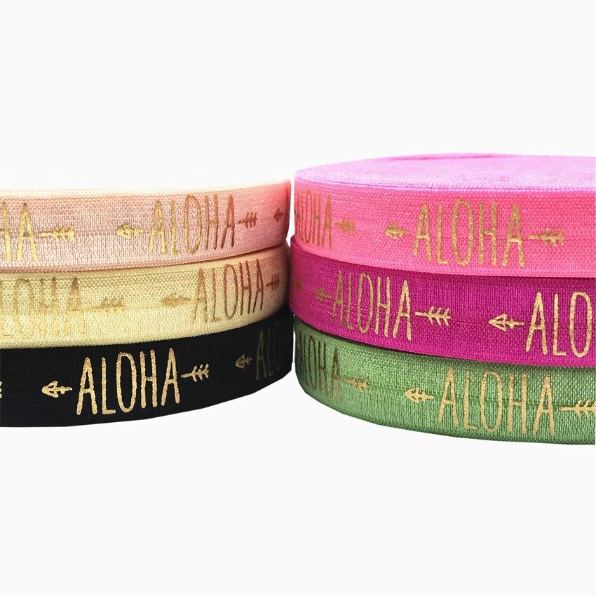 Gold Aloha Arrow Print Fold Over Elastic Ribbon DIY Hawaiian Birthday Hair Ties, Beach Party Gift Decoration Accessory 16mm 10Y