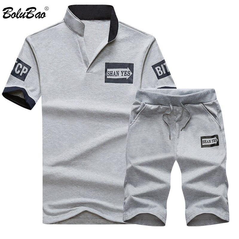 BOLUBAO 2018 Summer Wear Slim Fit Men's Print Tracksuit Men Set Luxury Mens Suits Sudaderas Hombre 2 Piece Jerseys Polo Suits