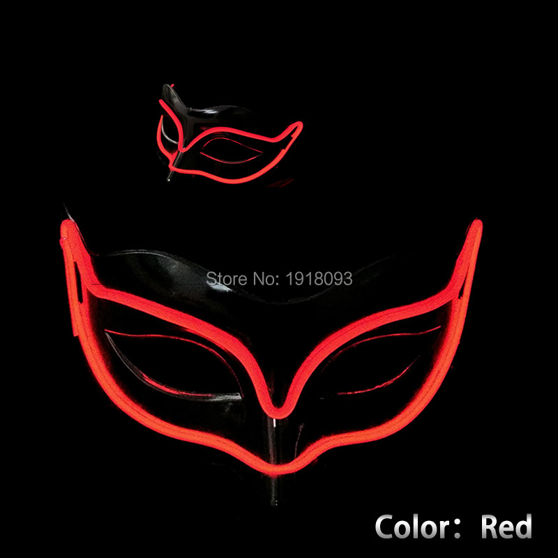 New Style Hot Sales Color Red Fox LED Mask Flashlight Novelty Lighting EL Mask As Party Christmas Halloween Holiday Decoration