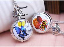 Мультфильм бабочка стрекоза сова часы хорошего качества новые женские девушка леди ребенок Мода кварцевые карманные часы ожерелье цепь 1 шт.
