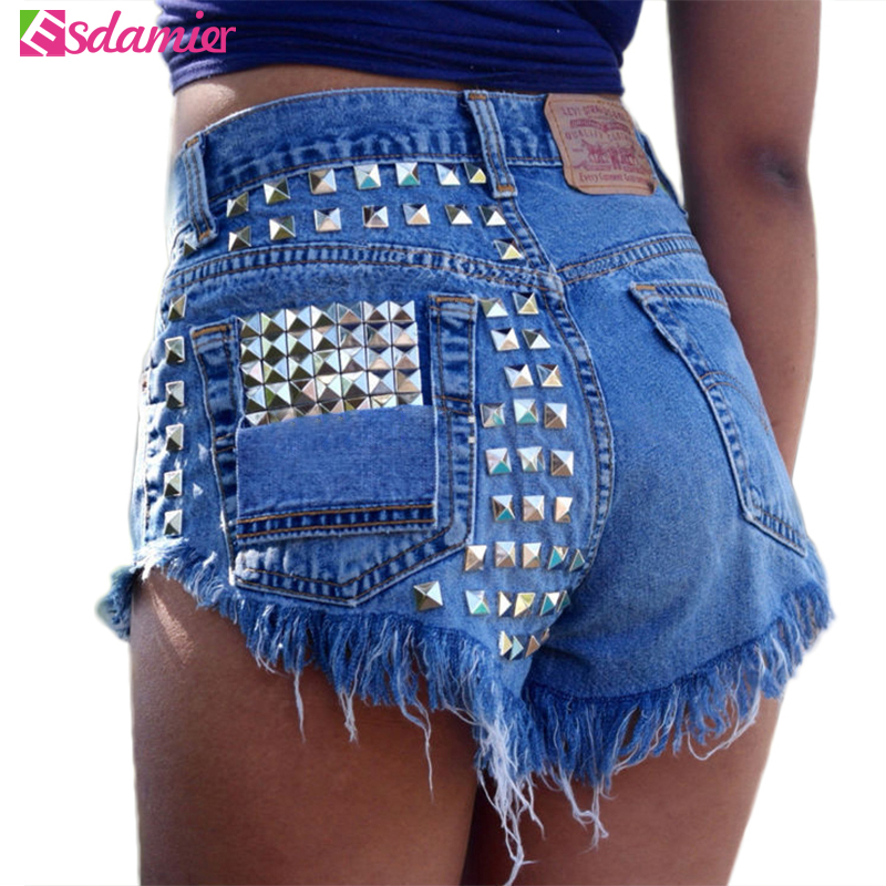 New Arrival High Waist Womens   Shorts   Fashion Rivet Beaded Denim   Shorts   Ripped Jeans   Short   Femme Frayed Tassel   Shorts   For Women