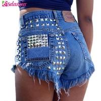 New Arrival High Waist Womens Shorts Fashion Rivet Beaded Denim Shorts Ripped Jeans Short Femme Frayed Tassel Shorts For Women