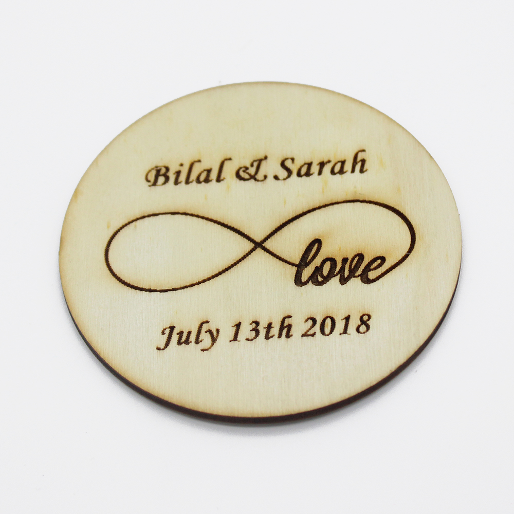 2pcs Personalized Engraved Wedding Wooden Round Bottle Opening ...