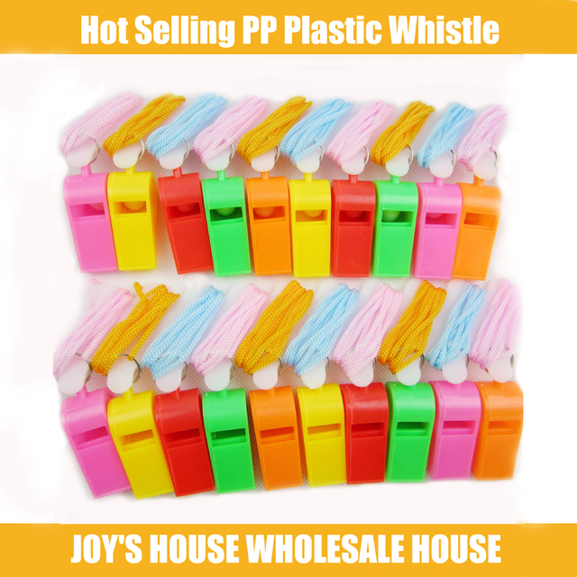 10pcs/lot Super Quality Plastic Whistle With Lanyard for Boats, Raft,Party,Sports Games