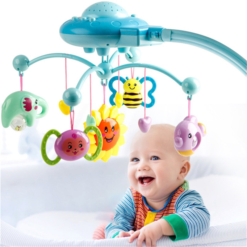 Baby Rattle Infant Toys For 0-12 Month Crib Mobile Bed Bell With Music And Sky Stars Projection Early Learning Kids Toys Juguete