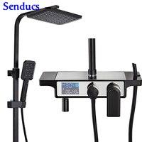 Senducs Black Bronze Bath Shower Set Luxury Digital Black Shower System Brass Shower Faucet Rainfall Bathroom Shower Set