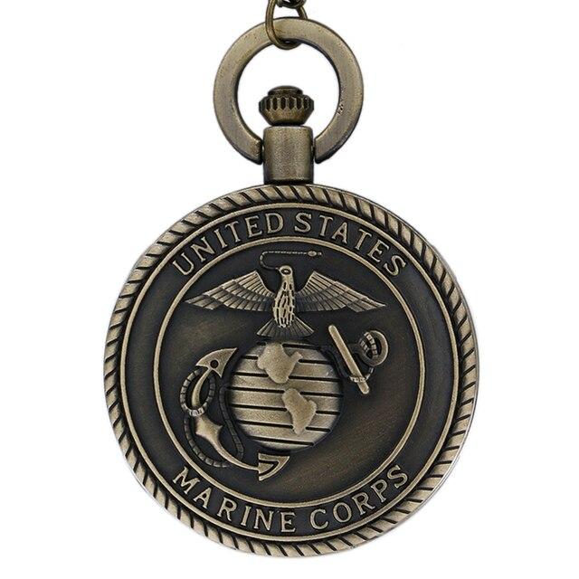 129a48ad4cd Винтаж бронзовый ретро Корпус морской пехоты США тема карманные часы для  мужчин женщин Военная Униформа человек