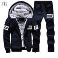 Hoodies Camisolas de Lã inverno Terno Homens Plus Size 4XL dos homens moletom com Capuz Grosso Quente Hoodies Estabelecidos Para Homens Outwear + calças