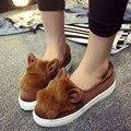 Comercio al por mayor de las mujeres zapatos de Los Planos de Las Mujeres talón Plano Zapatos Perezosos Zapatos de cuero Suave de dibujos animados orejas de conejo zapatos planos de tela elástica DL1238
