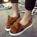Wholesale women shoes Flats Women Flat heel Shoes Lazy Shoes Soft leather cartoon rabbit ears elastic cloth flat shoes DL1238