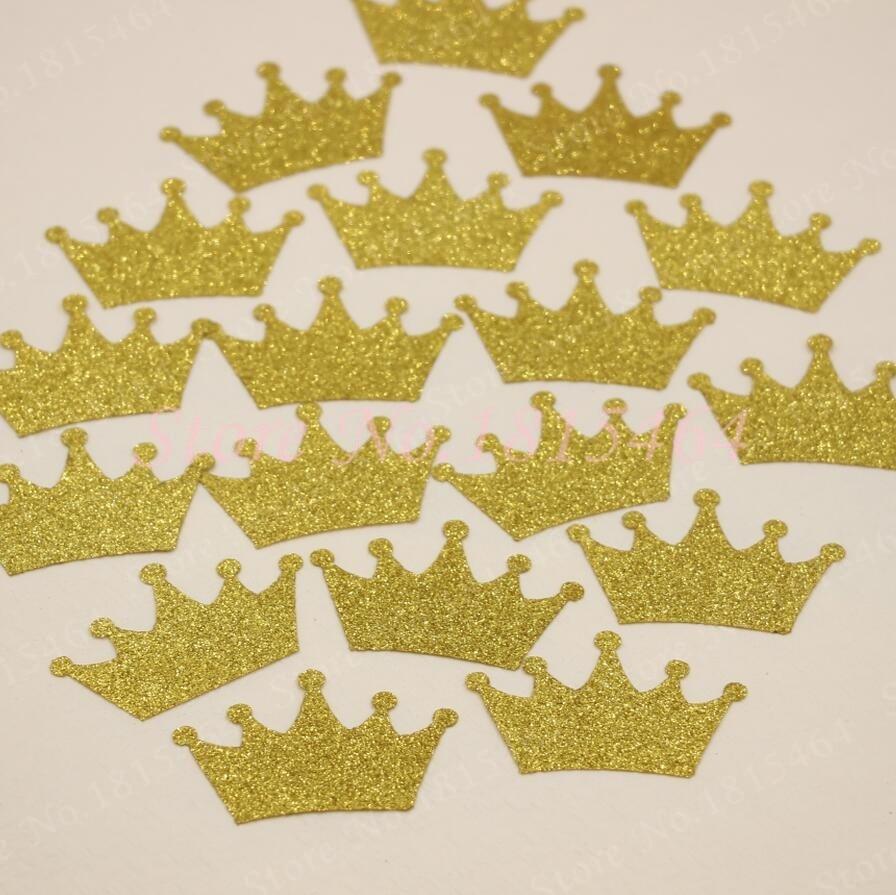 200pcs Gold Glitter Crown Confetti Princess Prince Birthday ...