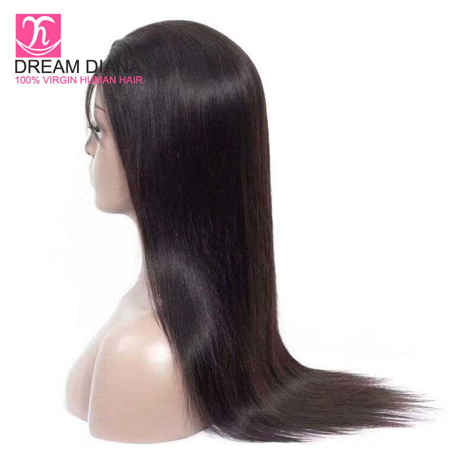 DreamDiana Brazilian Straight 360 Lace Wig Remy 360 Lace Wig Pre Plucked With Baby Hair 100% Human Hair Lace Wig Express Deliver(China)