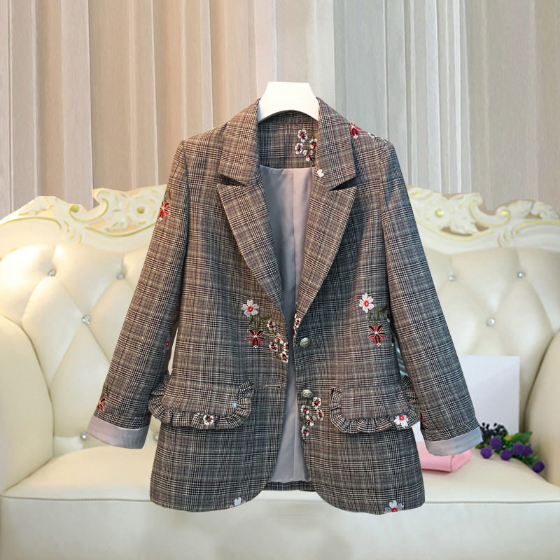 Female Retro Spring Autumn New Embroidered Plaid Suit Jacket Female Large Size Loose Suit Jacket Female Temperament Slim Jacket