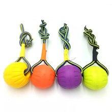 Indestrutível de borracha dentes mordida engraçado bola de treinamento do filhote de cachorro chew brinquedos jogar buscar sólida com corda transportadora cão de estimação
