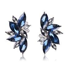1 пара Женские Серьги Кристалл Teardrop Цветок серьги для невесты ювелирные изделия подарок HSJ88